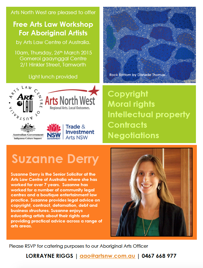 FREE Arts Law in Tamworth 26 March > Is open to