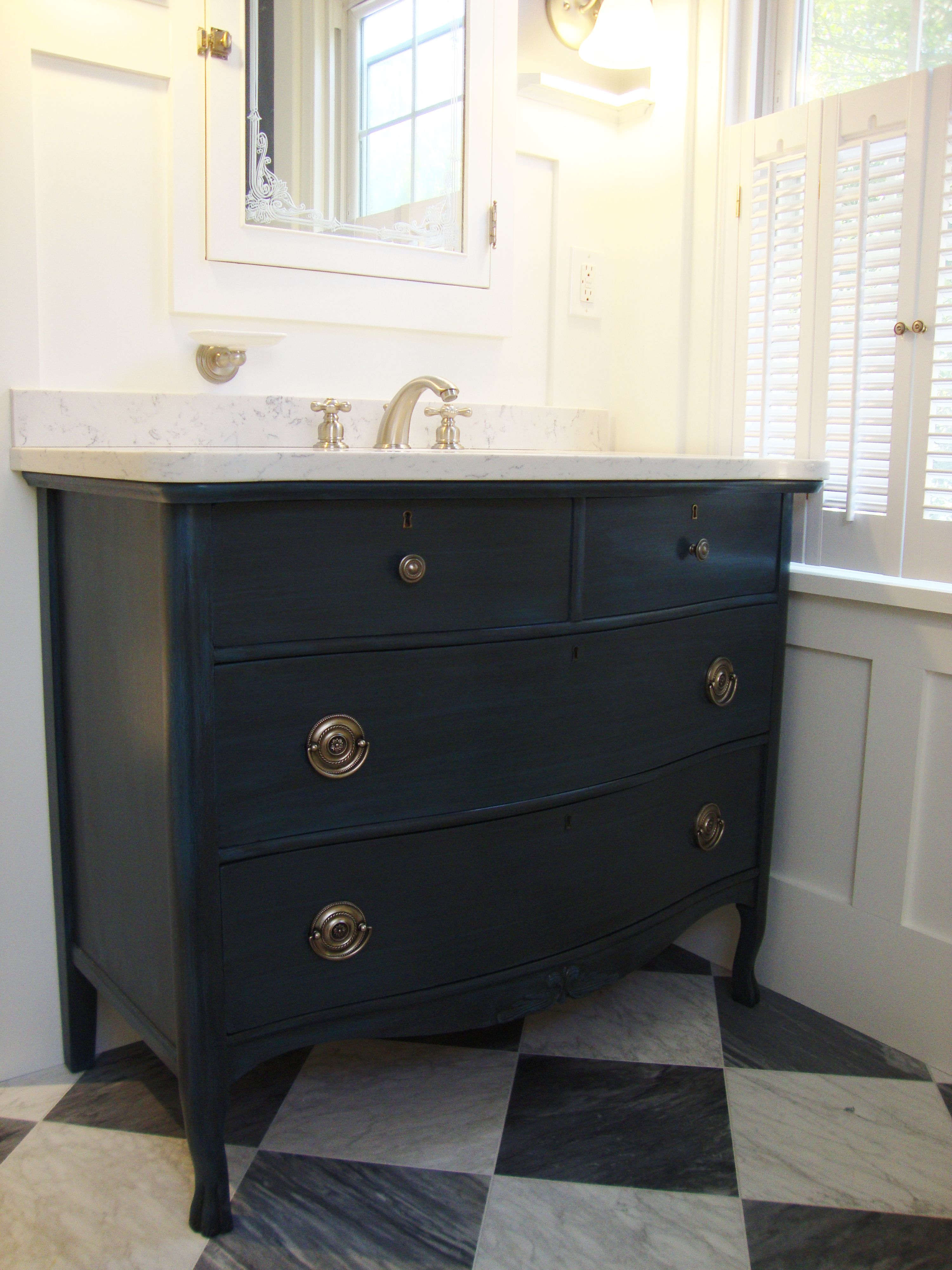 Annie sloan chalk paint bathroom cabinets - Avenue Centrale Vanity Is A Repurposed Antique Serpentine Dresser Refinished In Annie Sloan Chalk Paint Bathroombathroom