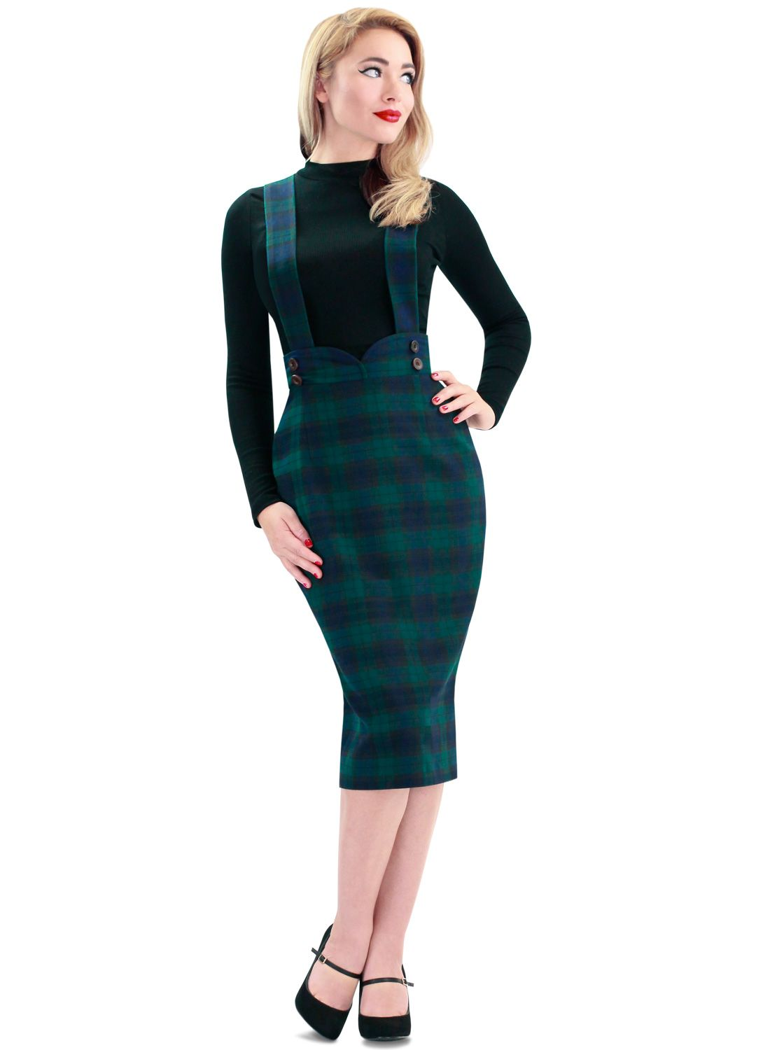 Dixie Doll\' Black Watch Tartan 50s Style Pencil Skirt