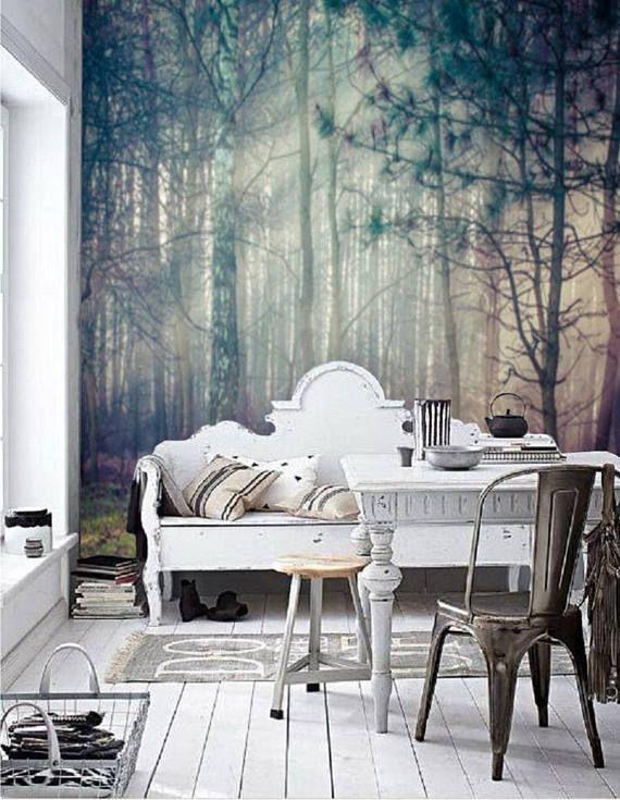 Peel And Stick Wall Paper Boho Misty Forest Wallpaper Wall Etsy Wohnen Wandtapete Wandbild Wand