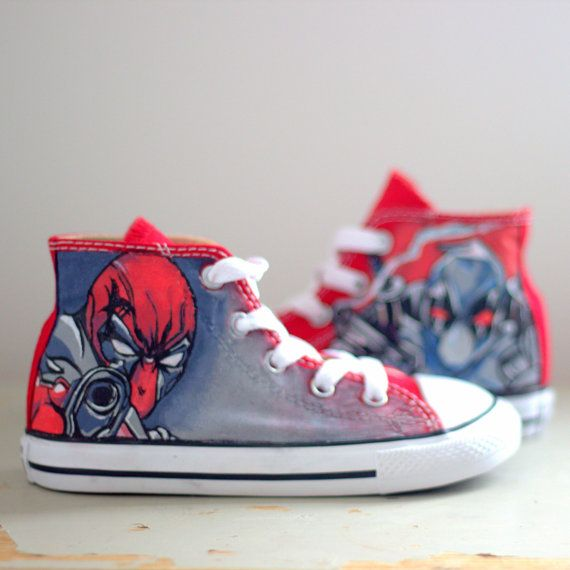 Unique Kids Custom Deadpool Converse by Unique8Sneaks on
