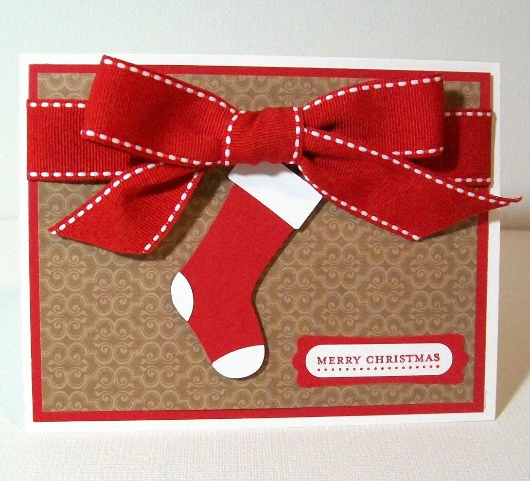 CLEARANCE SALE - Handmade Christmas Card - Red Stocking and Bow ...