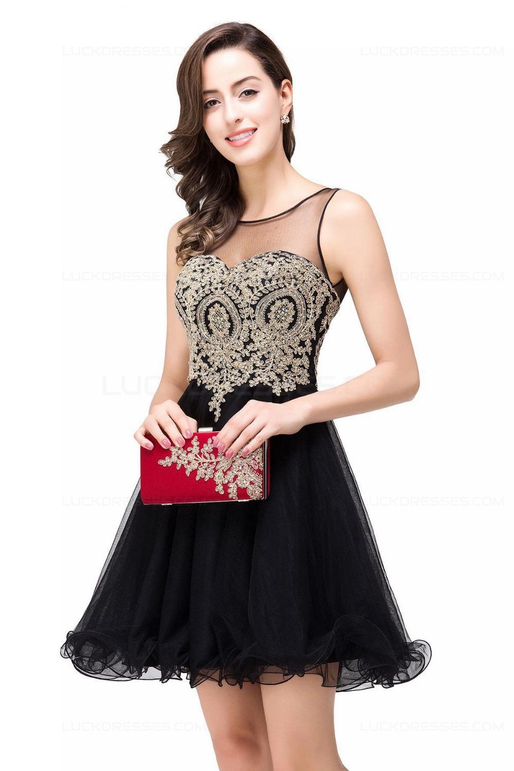 Aline illusion neckline gold lace appliques short prom dresses