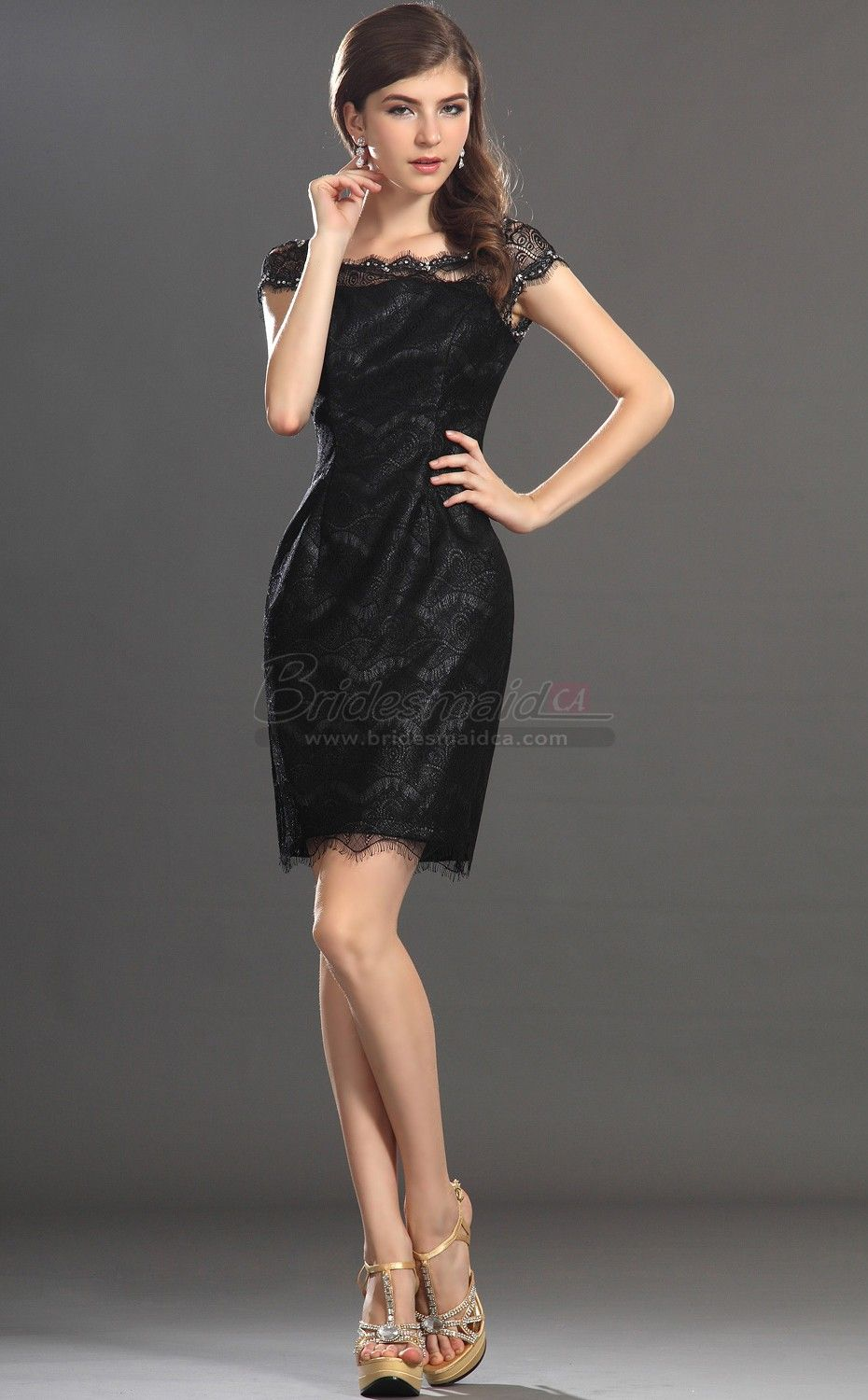 Bridesmaiddresses Black Lace Off The Shoulder Short Sheath Vintage Bridesmaid Dress Bd Ca358
