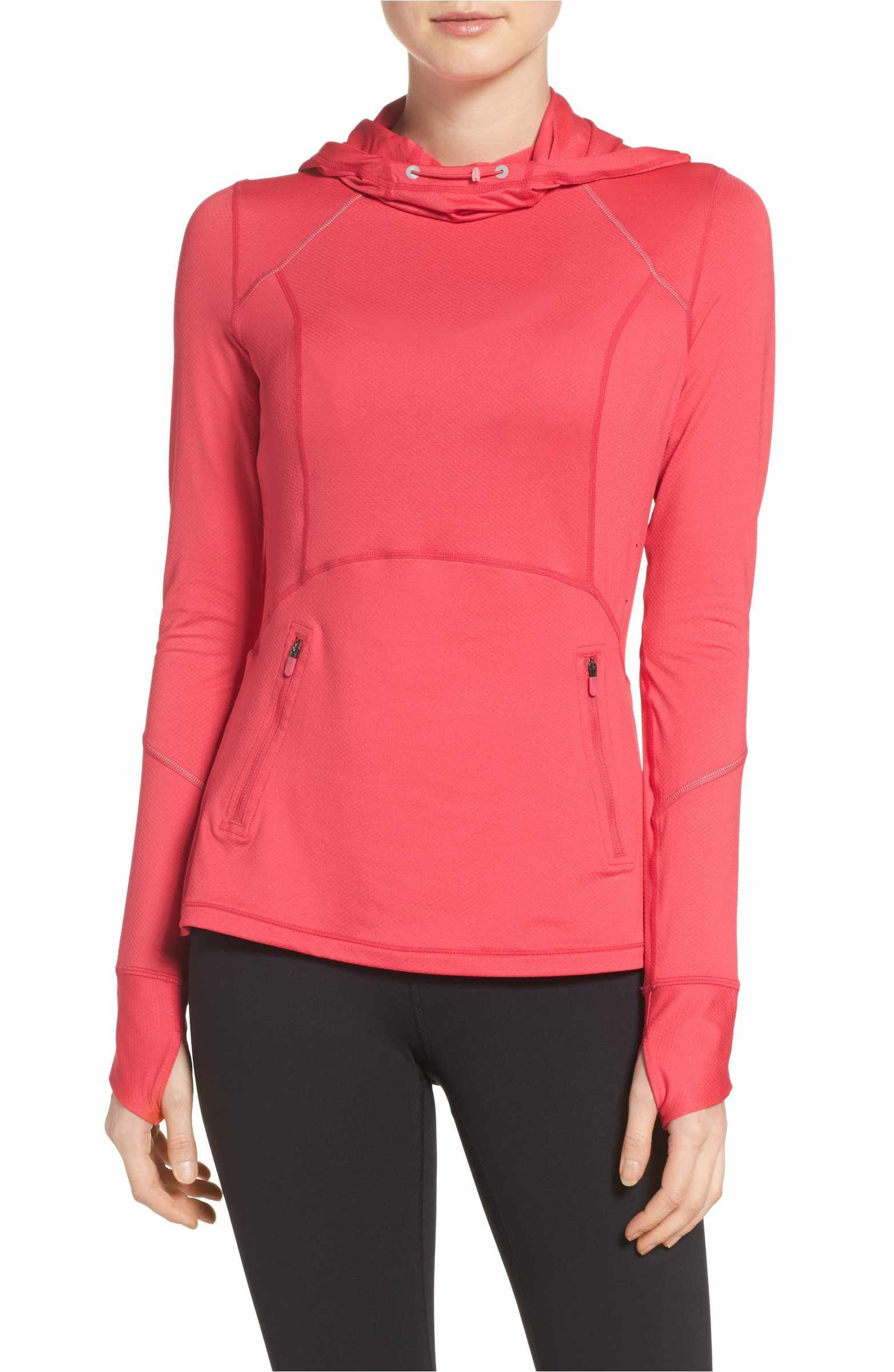 Zella Run Free Hooded Pullover Pullover, Active wear for