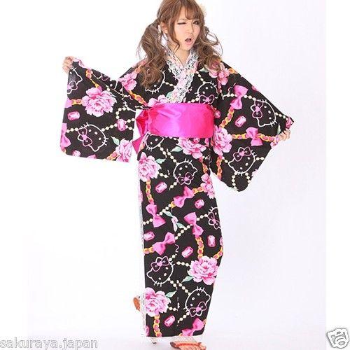 e3d329ce5 Hello Kitty Japanese Rose Long YUKATA KIMONO OBI Set Sanrio Japan Gift F/S