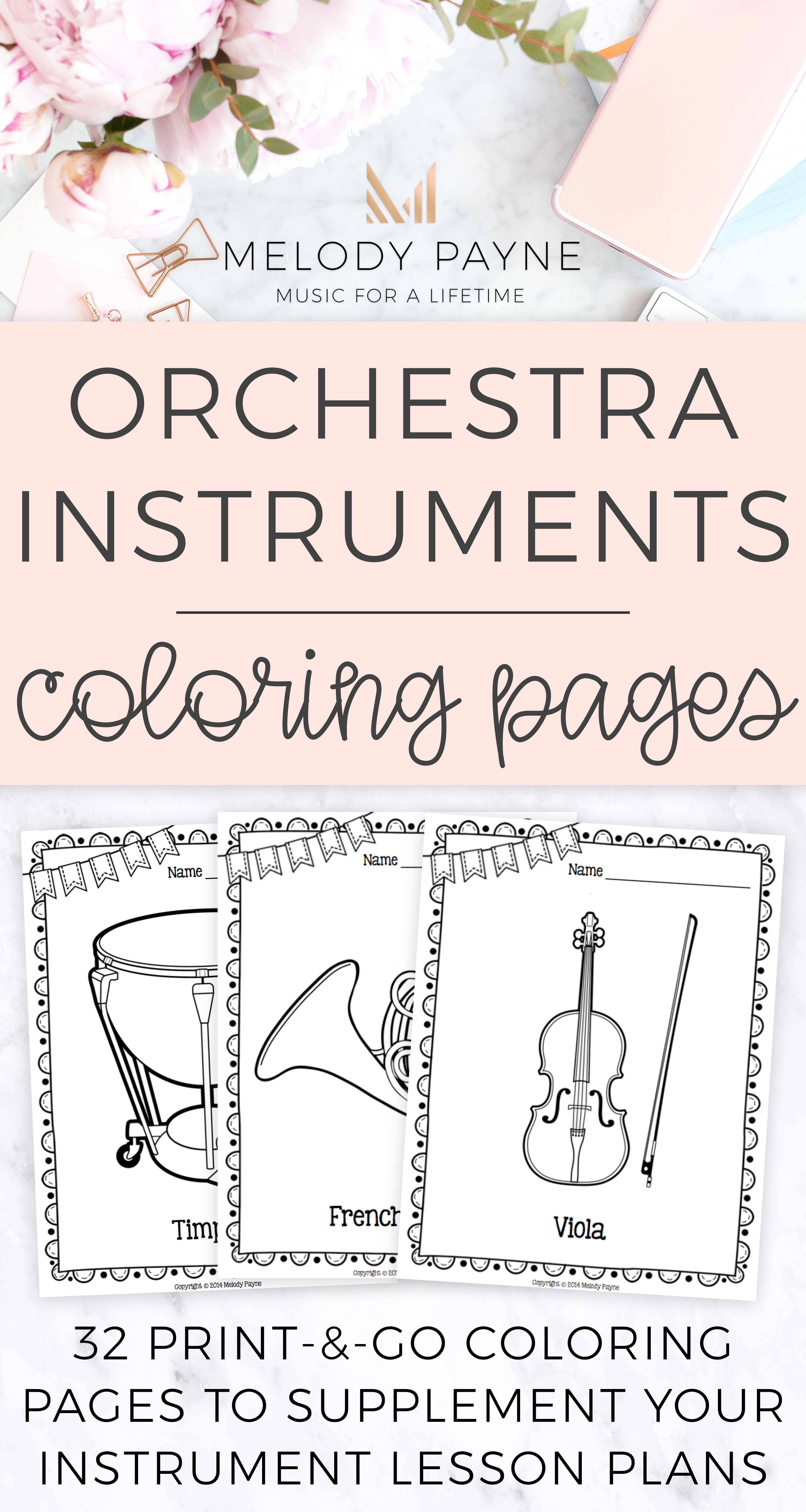 Music Coloring Sheets 32 Orchestra Instruments