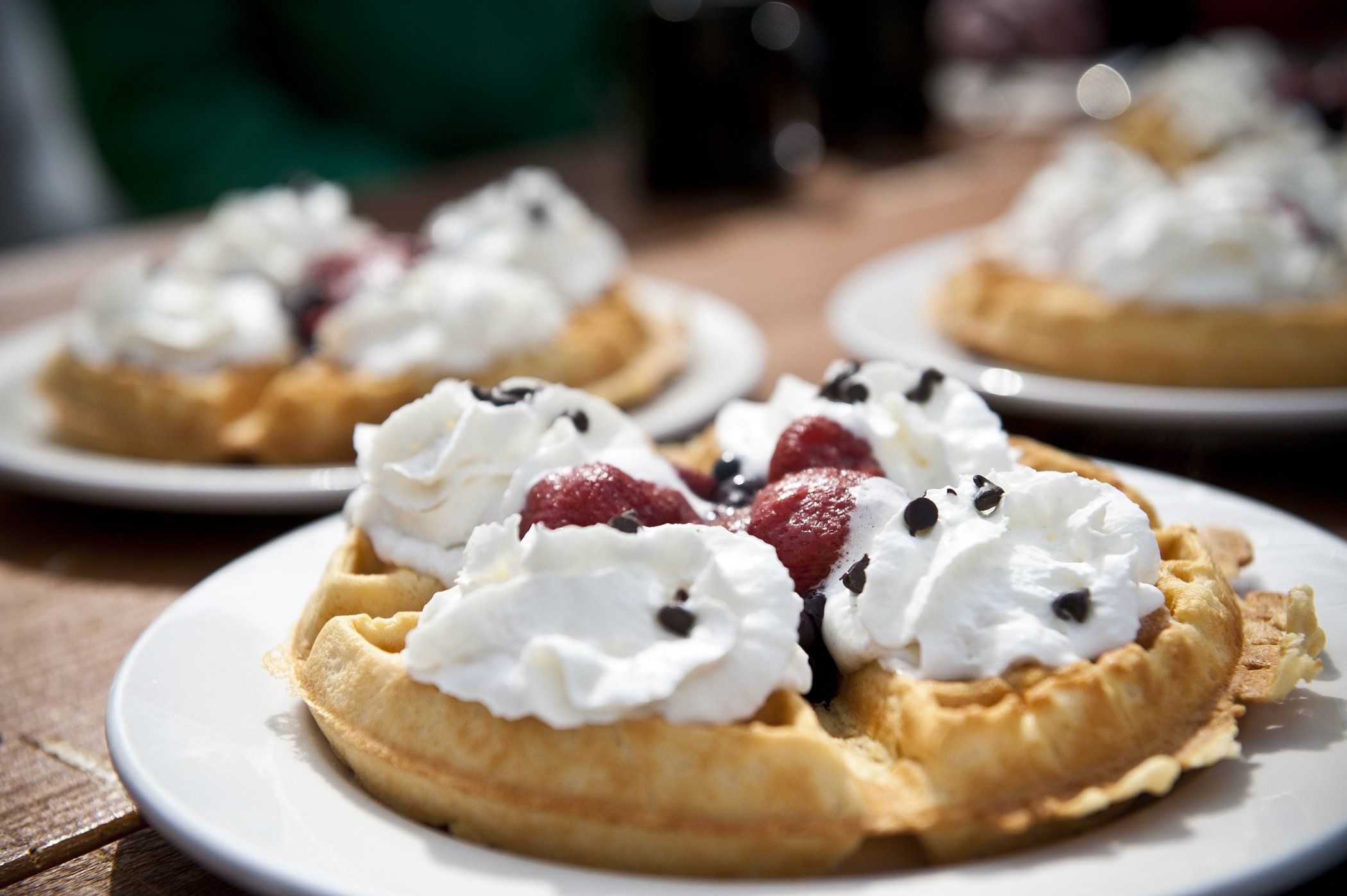 Enjoy the fresh, delicious and fully-loaded waffles at the Crystal Hut on Blackcomb Mountain.  Photo by: Brooke McDonald.