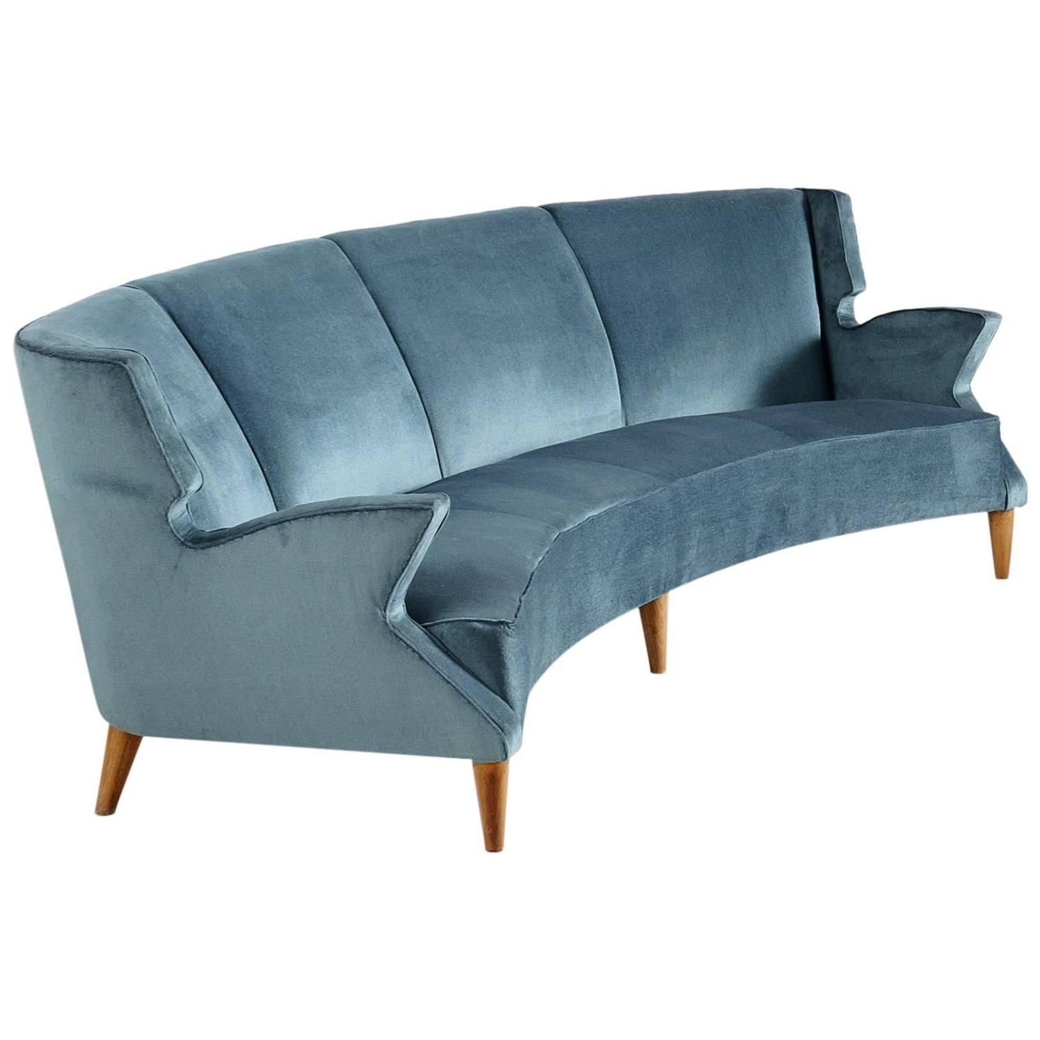 Large Italian Four Seat Curved Sofa Large Italian
