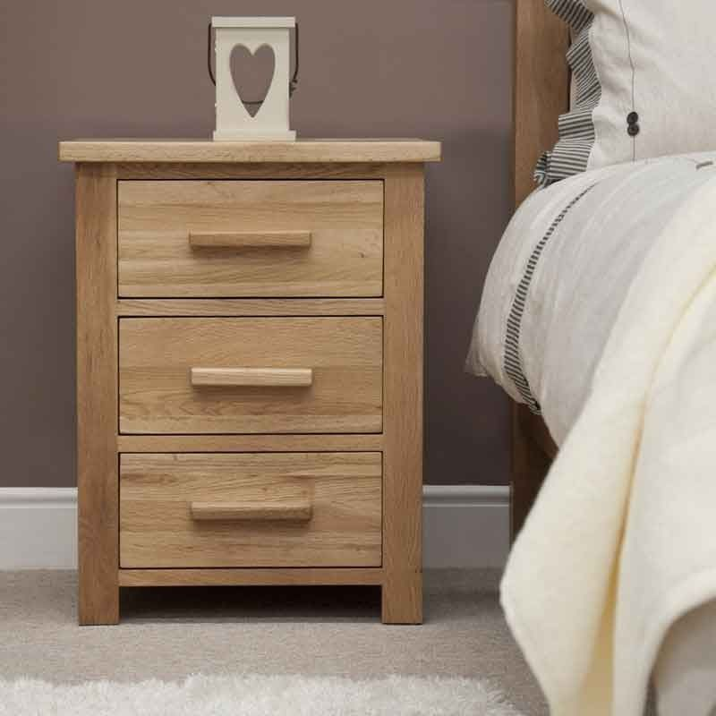 Opus Solid Oak Bedside Cabinet Solid Oak 3 Storage Drawers Choice ...