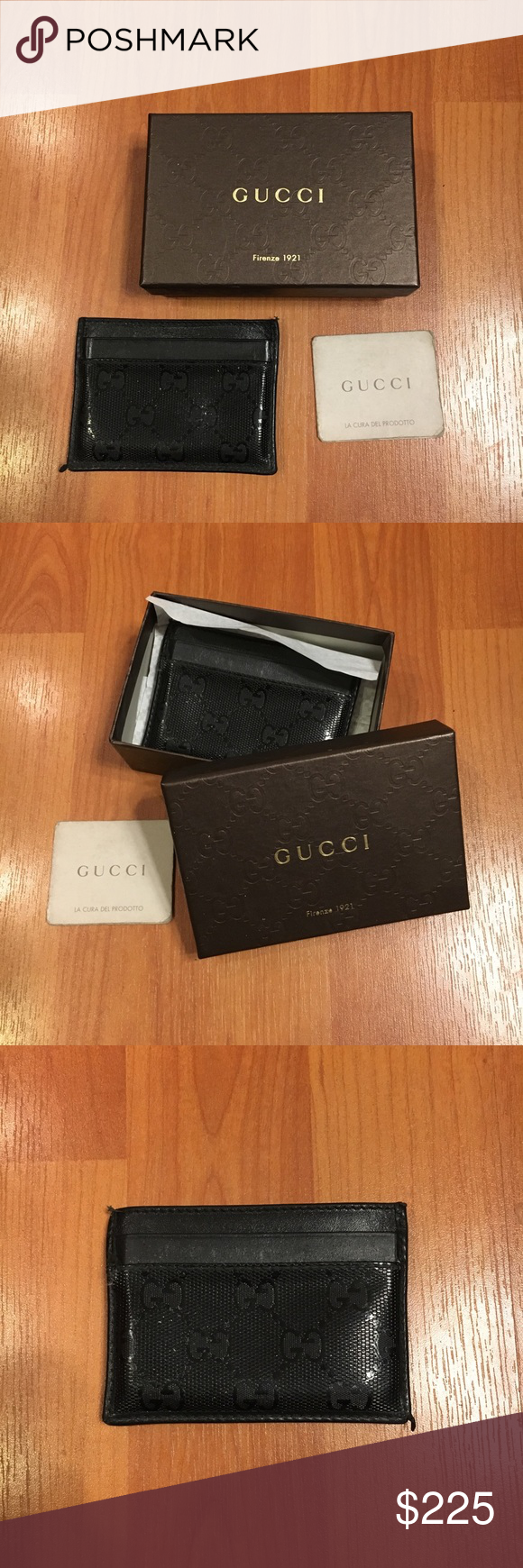 261225435d8 Gucci Card Holder Wallet Gucci card holder wallet. Black patent leather  with Gucci logo stamp