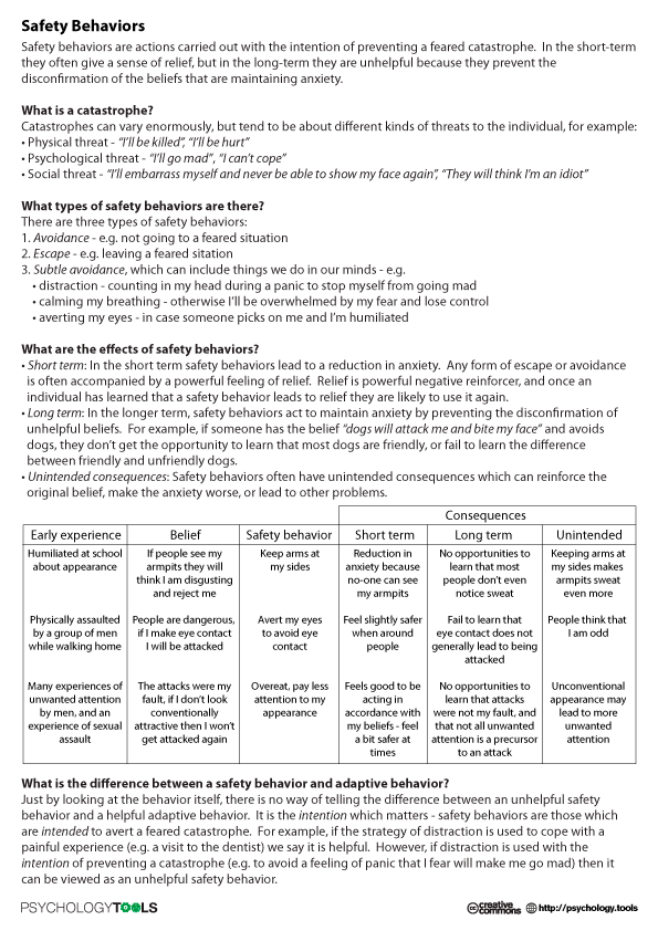 Safety Behaviors Worksheet | Counseling | Pinterest | Worksheets ...