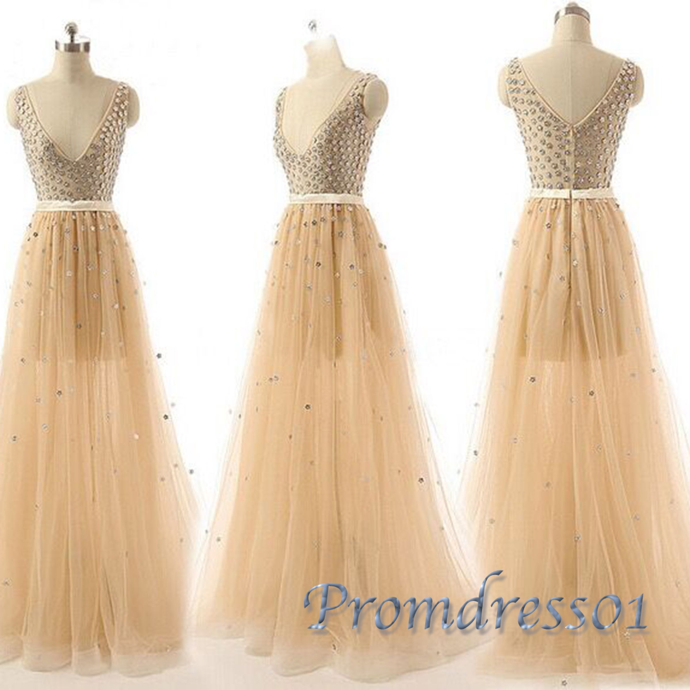 Saprkly prom dress winter formal beaded vneck tulle long evening