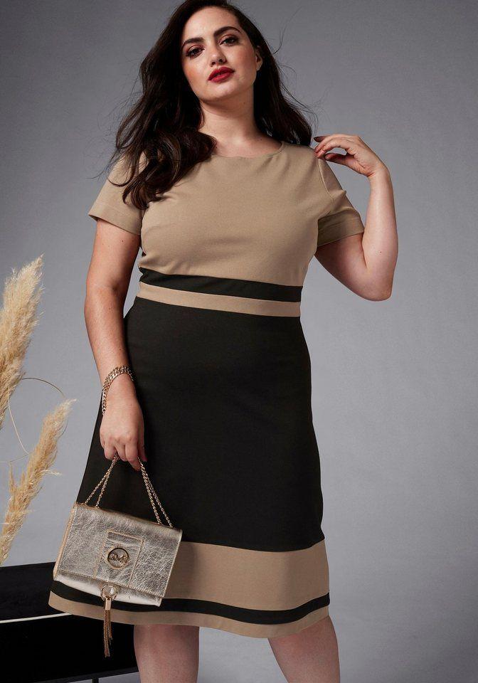 317e70b00e519 GMK Curvy Collection Etuikleid mit kontrastfarbenen Blockstreifen für  99,99€. Designer-Kleid