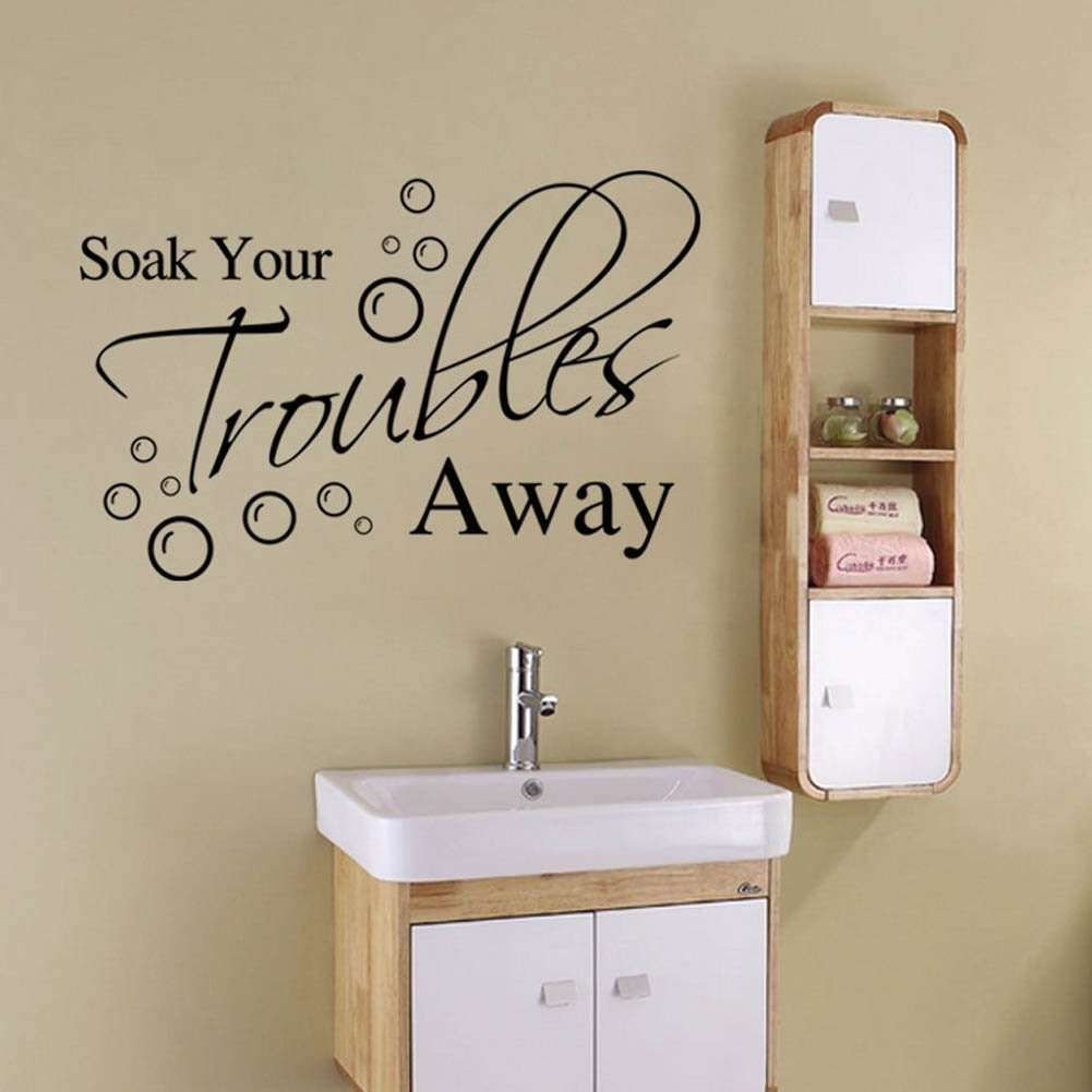Removable decal art mural home bathroom decoration quote pvc wall