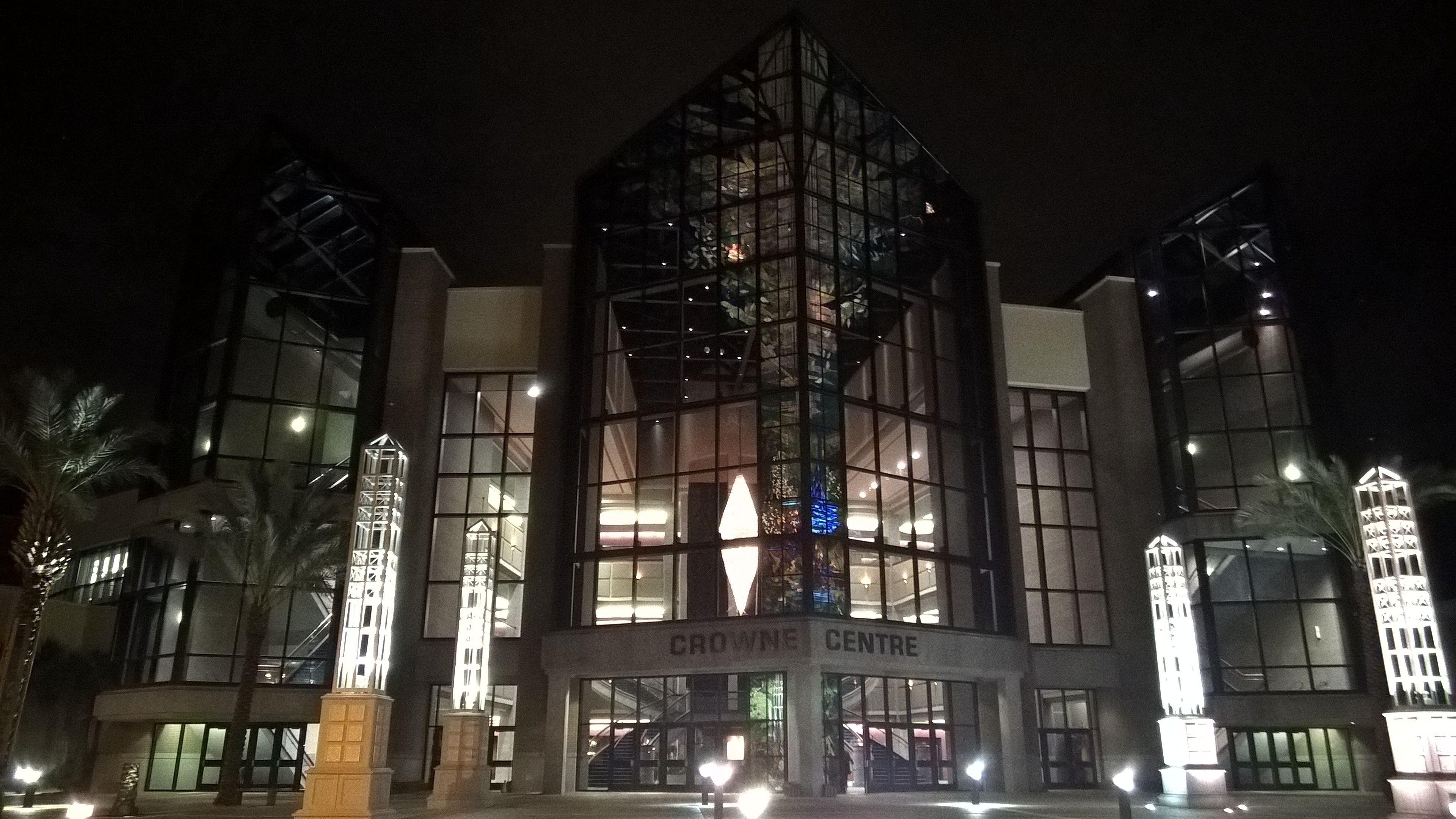 Crowne Center at night
