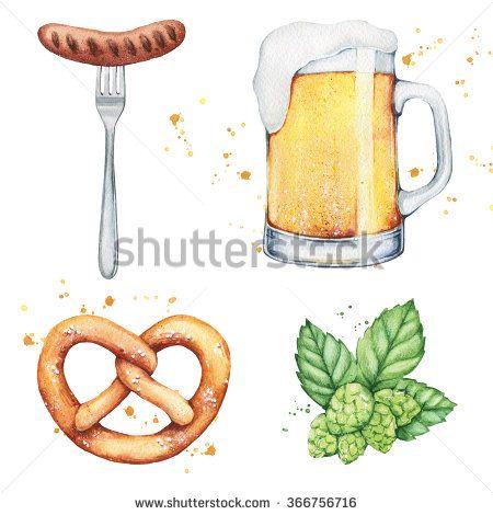 Glass Mug Pint Beer Hop Pretzel Stock Illustration 366756716