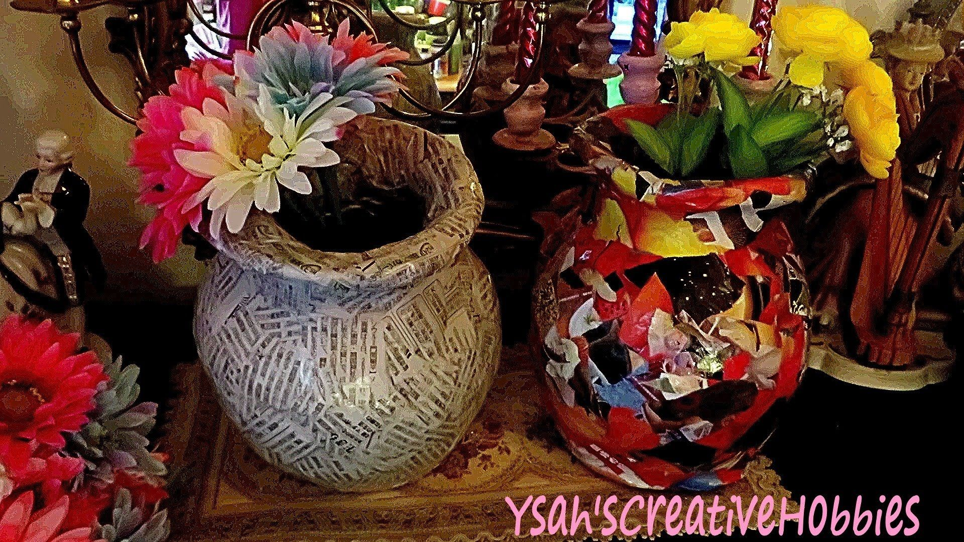 Newspaper Recycling To Make Flower Pot Or Vase Handy Tips