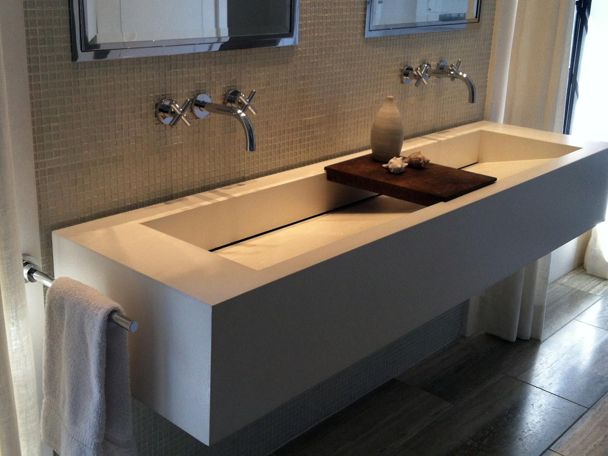 Sophisticated White Commercial Trough Sink With Wooden Soap Dish As Well As Double Bathroom Wall Mirror