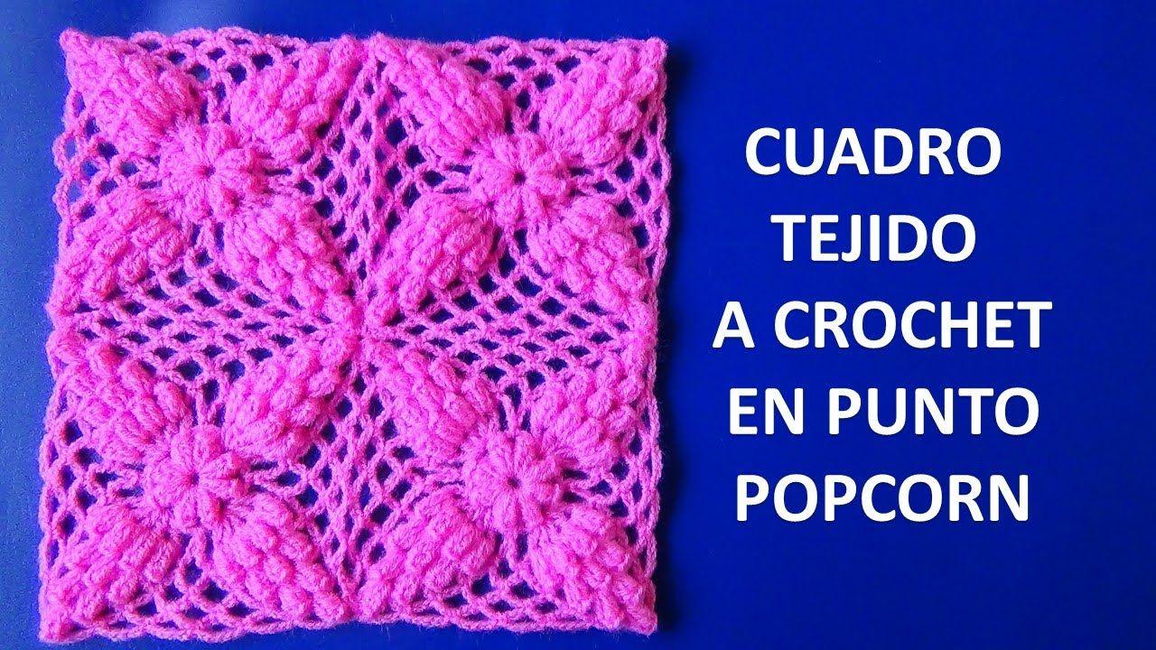 Cuadro a crochet # 1 en punto popcorn paso a paso para colchitas ...