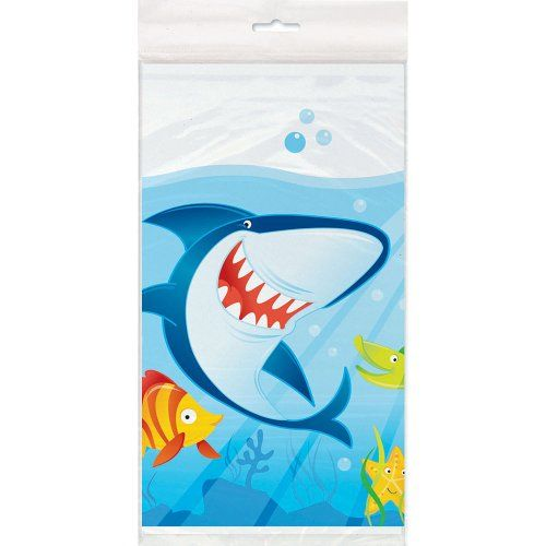 "SHARK PARTY PLASTIC TABLE COVER 54/""x 84/"" BOYS BIRTHDAY BLUE TABLEWARE SEA OCEAN"