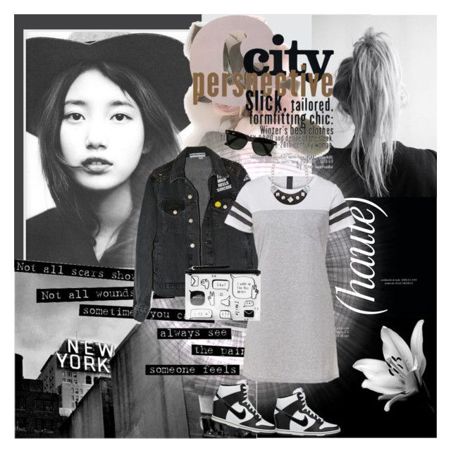 """""""City"""" by pictures-mary ❤ liked on Polyvore featuring NIKE, Monki, GUESS and Ray-Ban"""