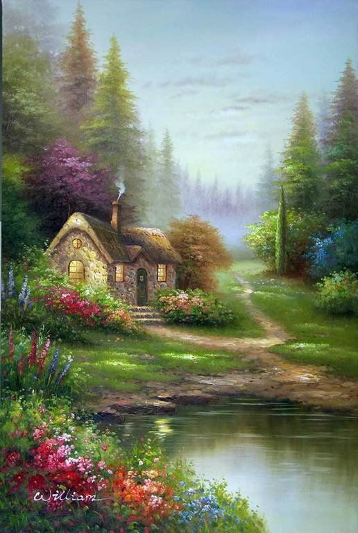 English Thatched Cottage Pine Forest Oil Painting Cottage Art Scenery Paintings Beautiful Landscapes