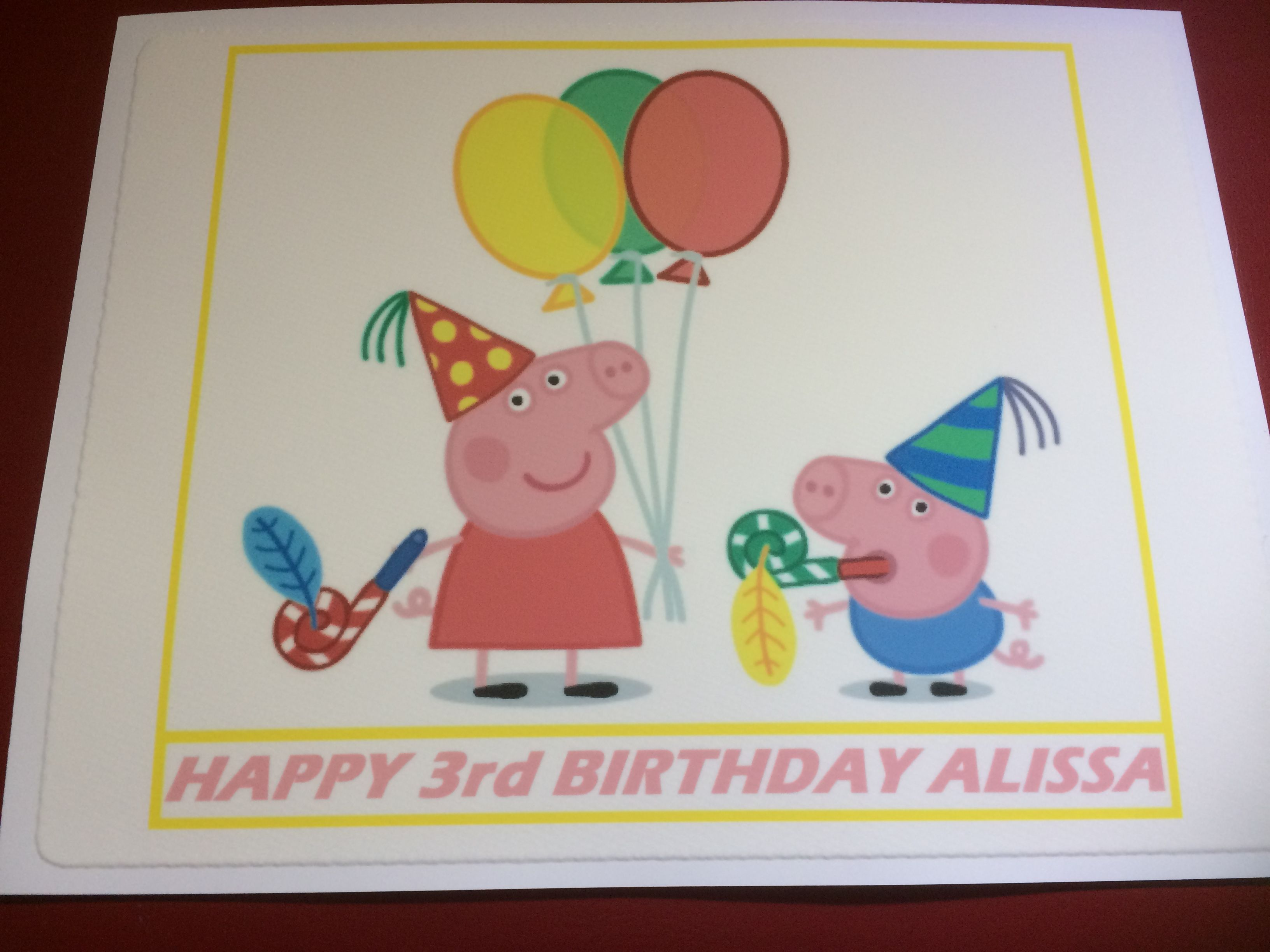 Just completed this peppa pig edible cake topper for a