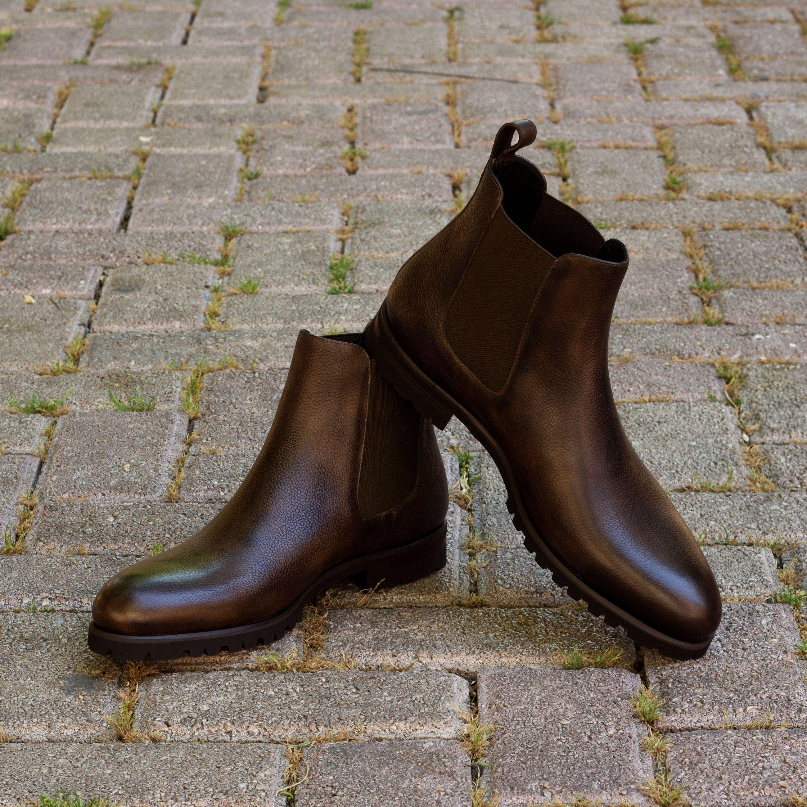 Custom Made Chelsea Boot Classic in Dark Brown Painted Full