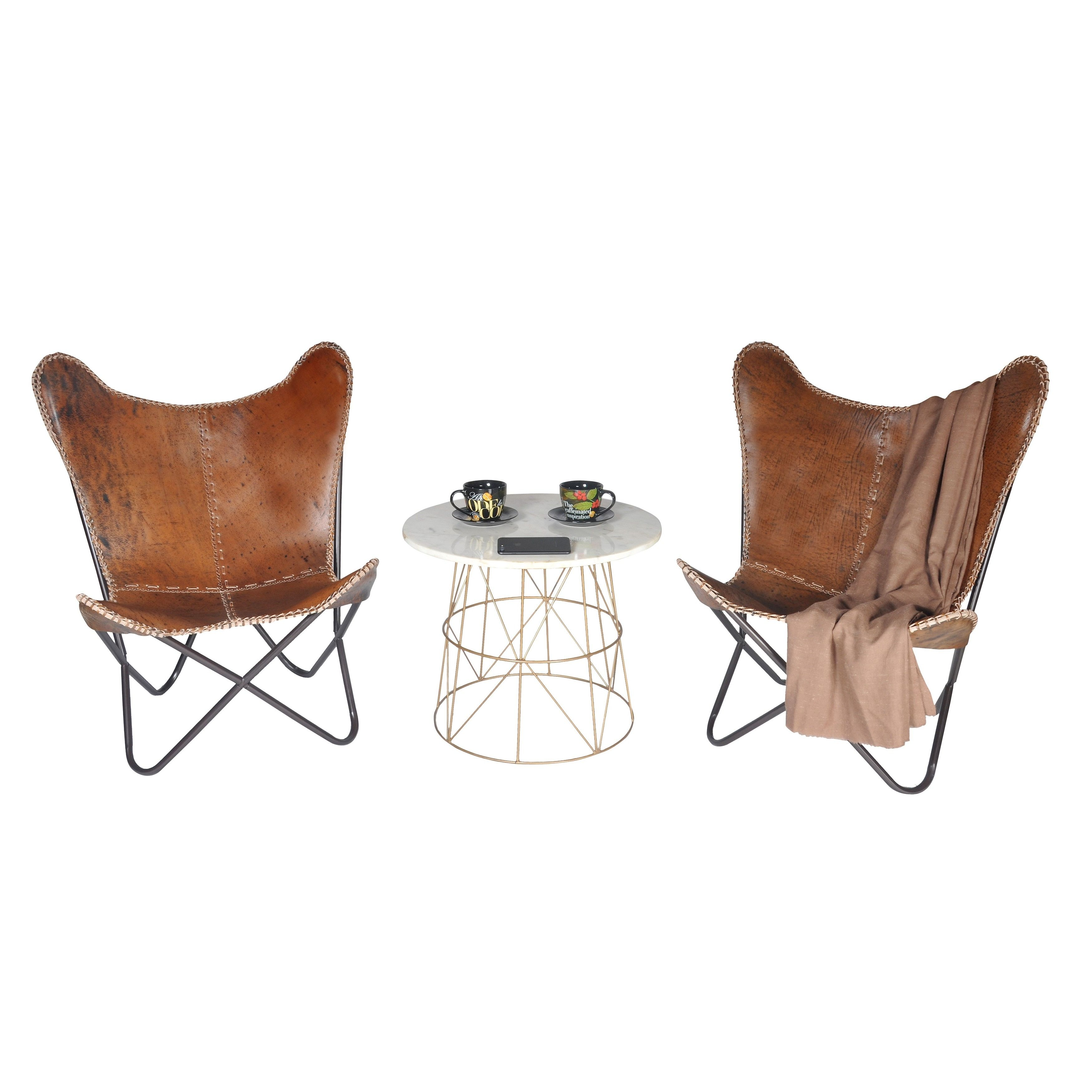 Overstuffed Living Room Chairs Horizon Brown Leather Butterfly Chair By Horizon Stolar