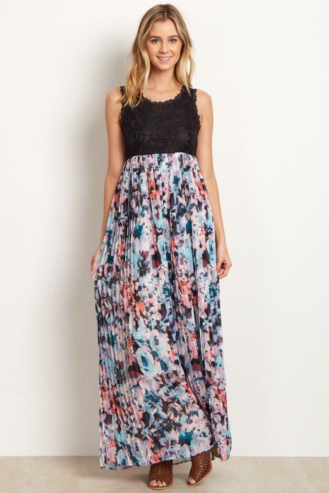 31bd708a3e99 Black Lace Pleated Floral Chiffon Maternity Maxi Dress | Pregnancy ...