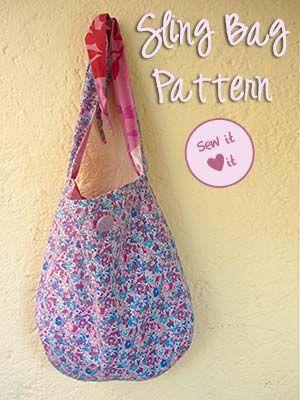 Reversible sling bag pattern. Easy to make! #sewing #pattern #purse ...