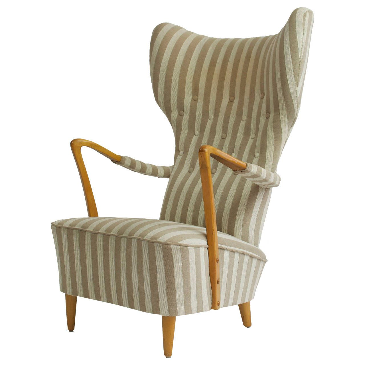 Marvelous 1950s High Back Swedish Lounge Chair And Ottoman
