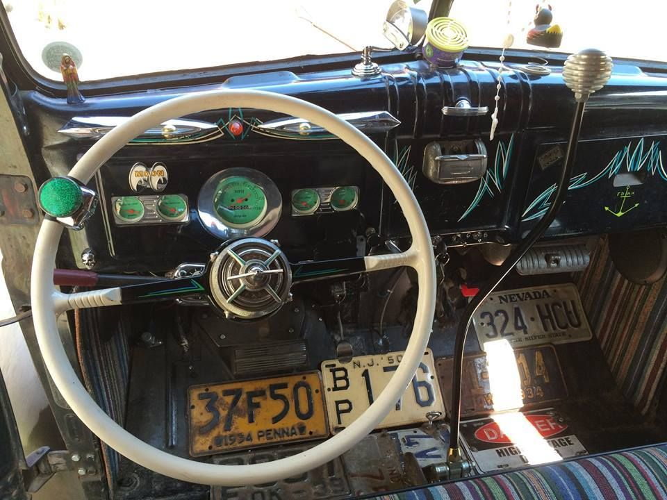 Vintage Truck Interior Shot Showing Patina Dash With
