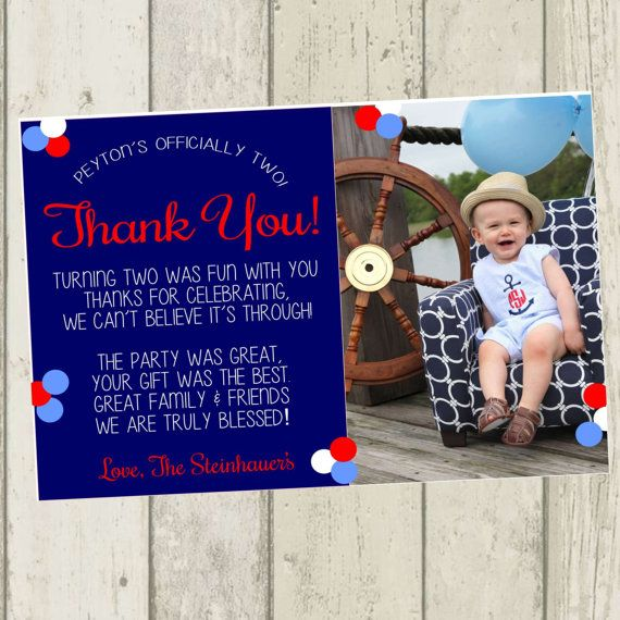 Second birthday thank you card great for a nautical ocean themed second birthday thank you card great for a nautical ocean themed birthday party bookmarktalkfo Image collections