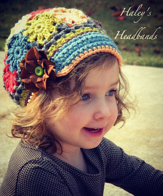 Flower Patch Work Field Trip Crochet Brimmed Slouchy Newsboy Beanie ...