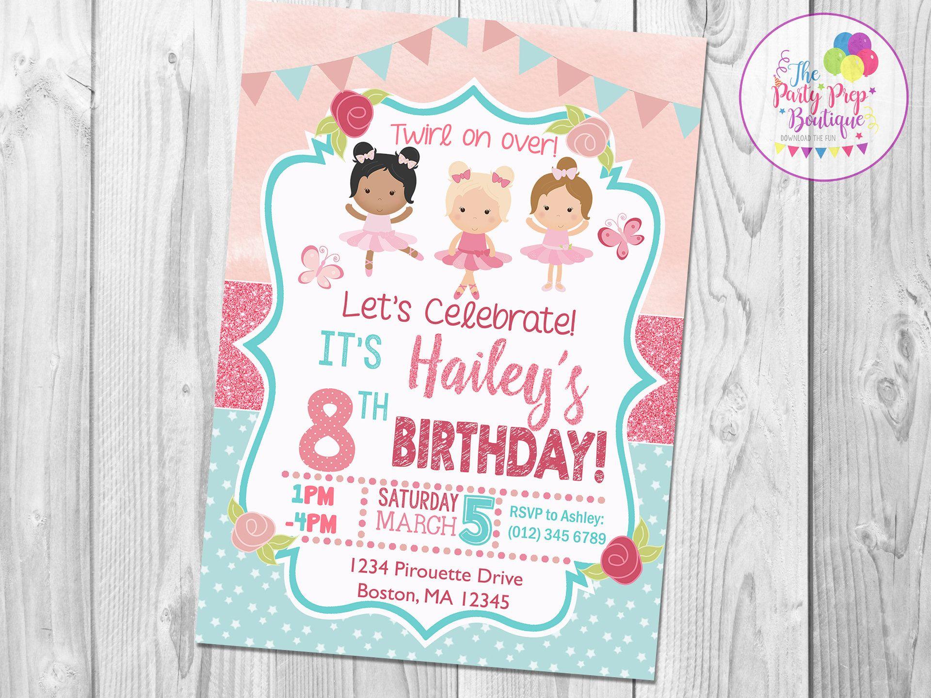 Ballerina Birthday Invitation | Ballerina Birthday Party | Digital ...