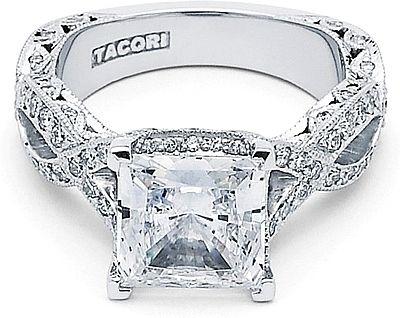 tacori royalt twist princess cut diamond engagement ring - Princess Cut Diamond Wedding Rings