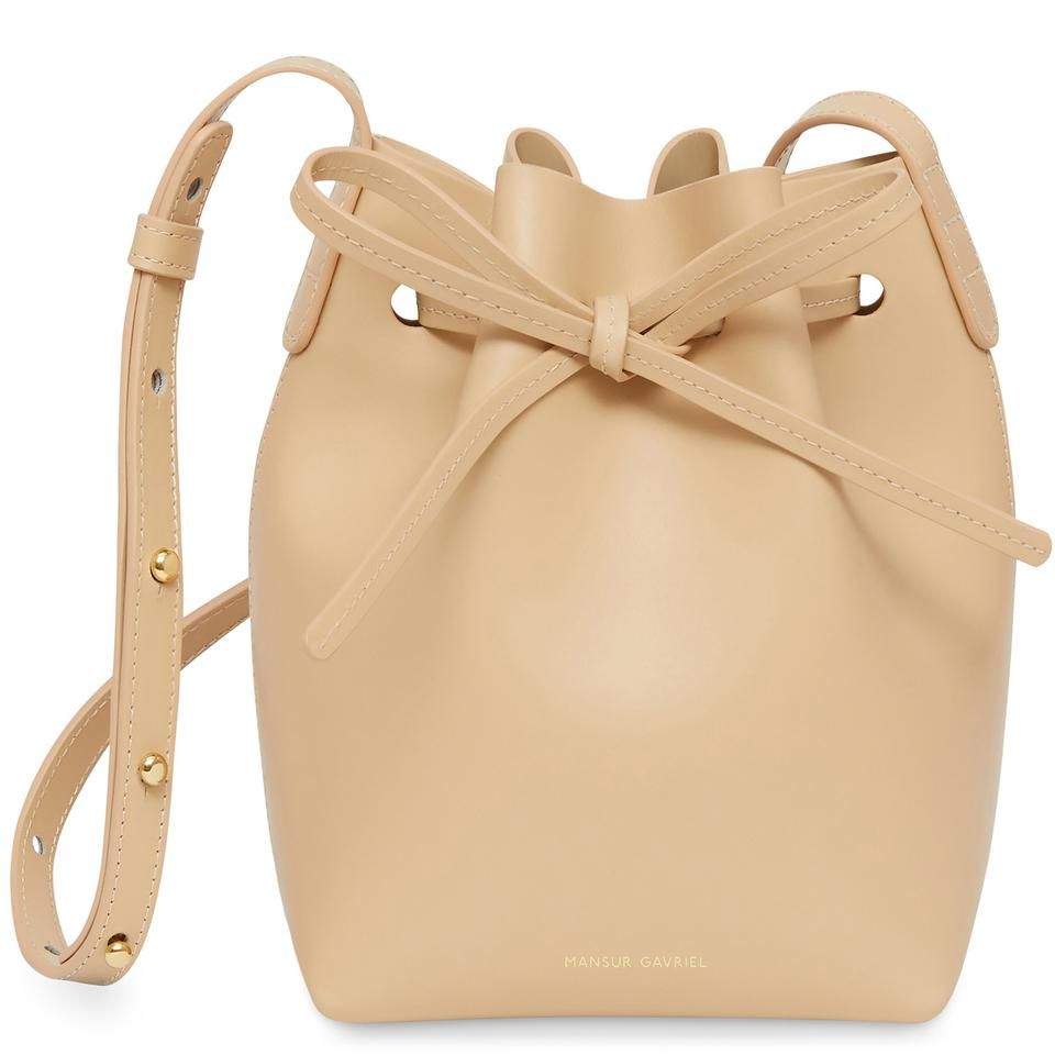 0a62256b53e0 Italian calf leather beige mini mini bucket bag with beige matte patent  interior. Adjustable strap. Made in Italy (1 of 4)