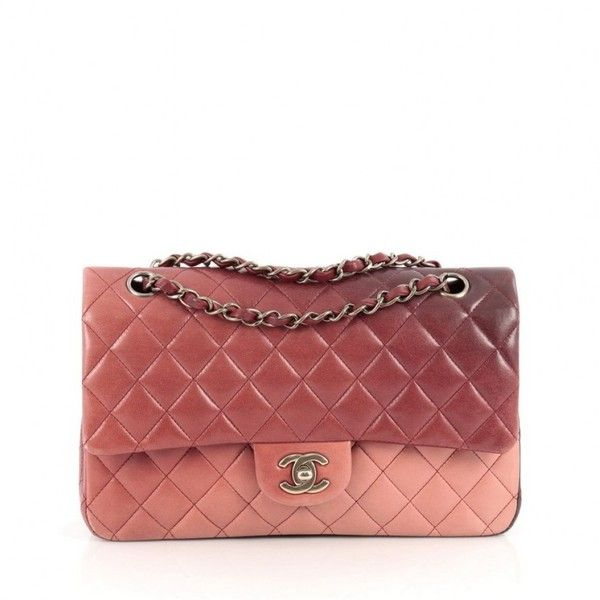 b6aa6cc3fc57a5 Pre-Owned Chanel Classic Double Flap Bag Ombre Quilted Lambskin ($3,025) ❤  liked on Polyvore featuring bags, handbags, pink, chanel purse, red purse,  ...