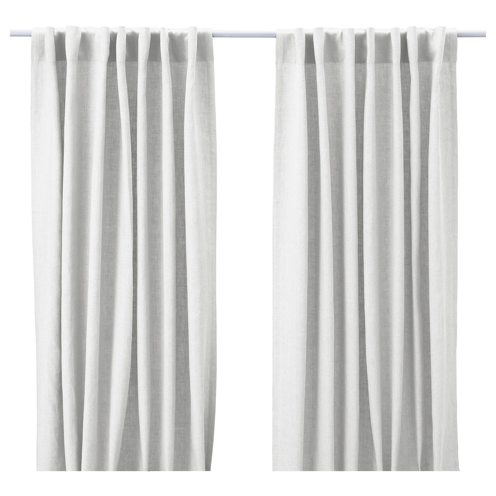 Aina Curtains 1 Pair Ikea White Linen Window Panels Side