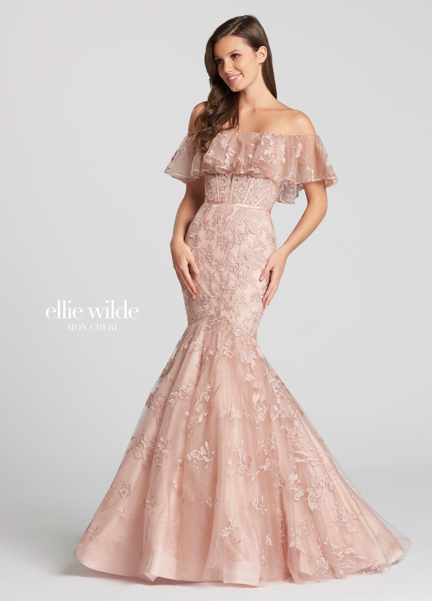 Ellie wilde ew romantic ruffle mermaid gown lace ruffle