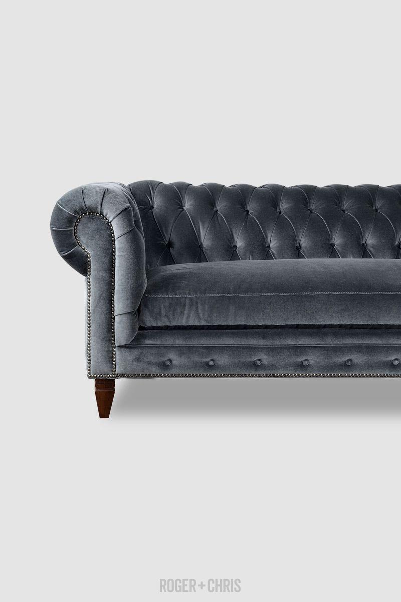 Higgins Chesterfield Sofa In Porto Graphite Velvet Fabric