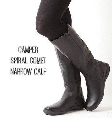 CAMPER Spiral Comet Womens Leather Knee High Flat Round Toe