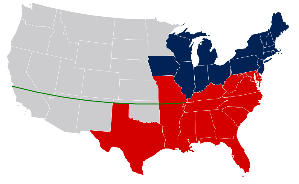 United States Map With Missouri Compromise Line And Colorcoded - Missouri On A Us Map