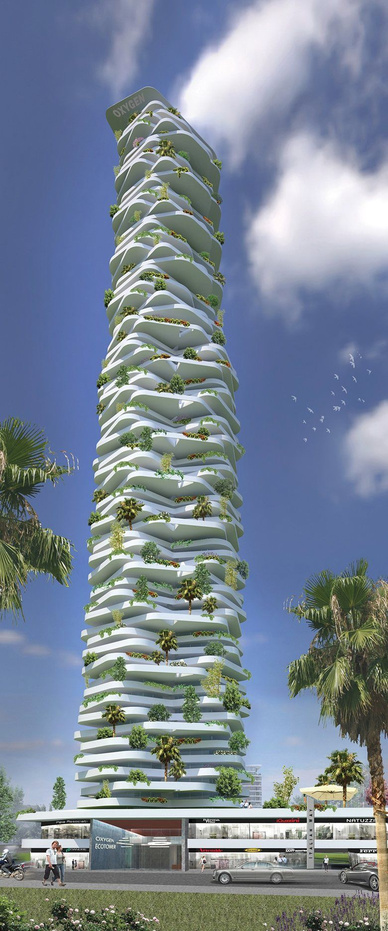 Oxygen EcoTower Progetto CMR Tower Design Skyscraper - 384ft tall apartment will be the worlds first building to be covered in evergreen trees
