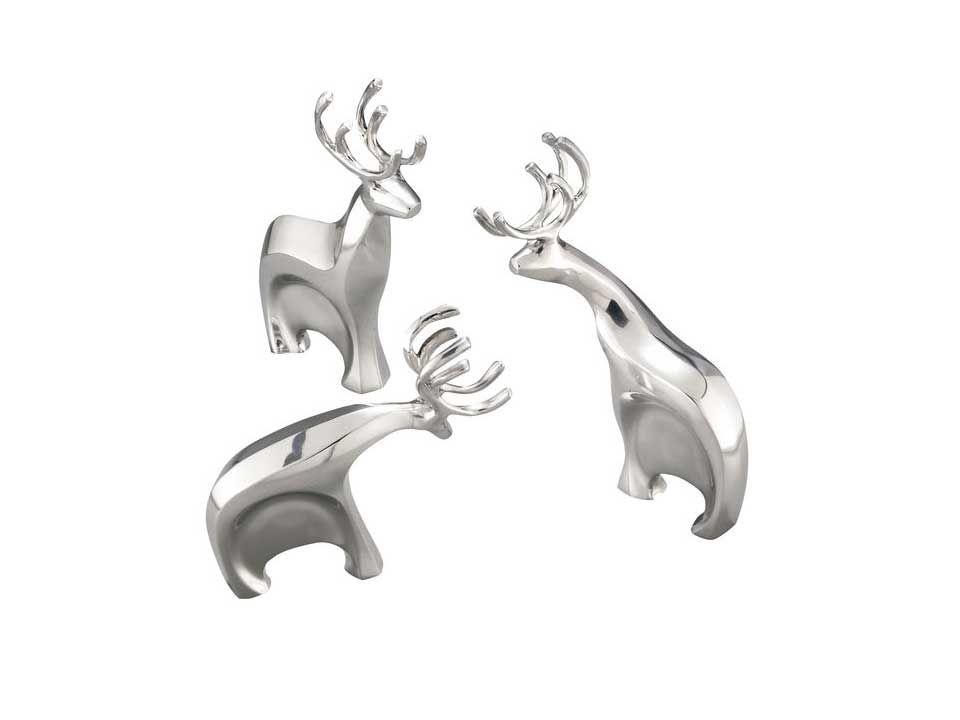 Nambe Holiday Blitzen Reindeer (Set of 3)