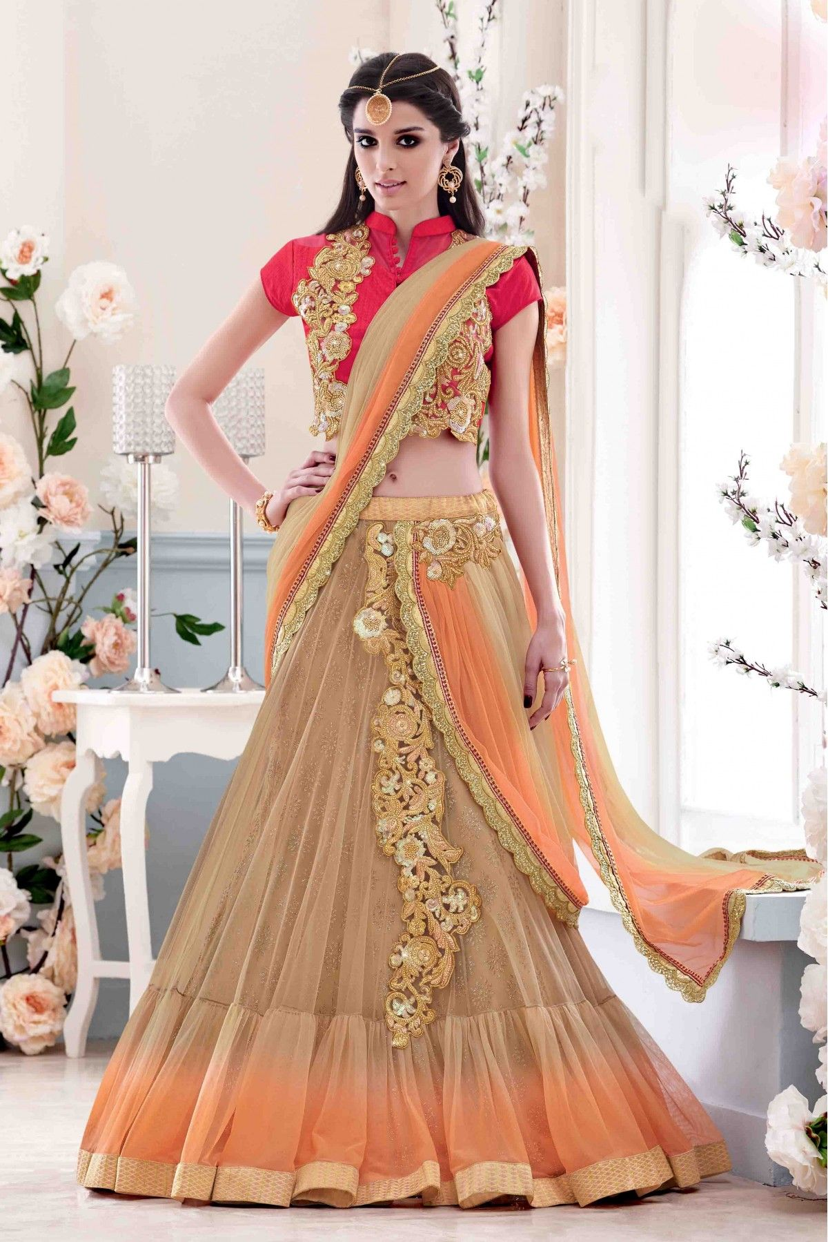 9c2175c43a Net Party Wear Lehenga Saree In Beige and Orange Colour in 2019 ...