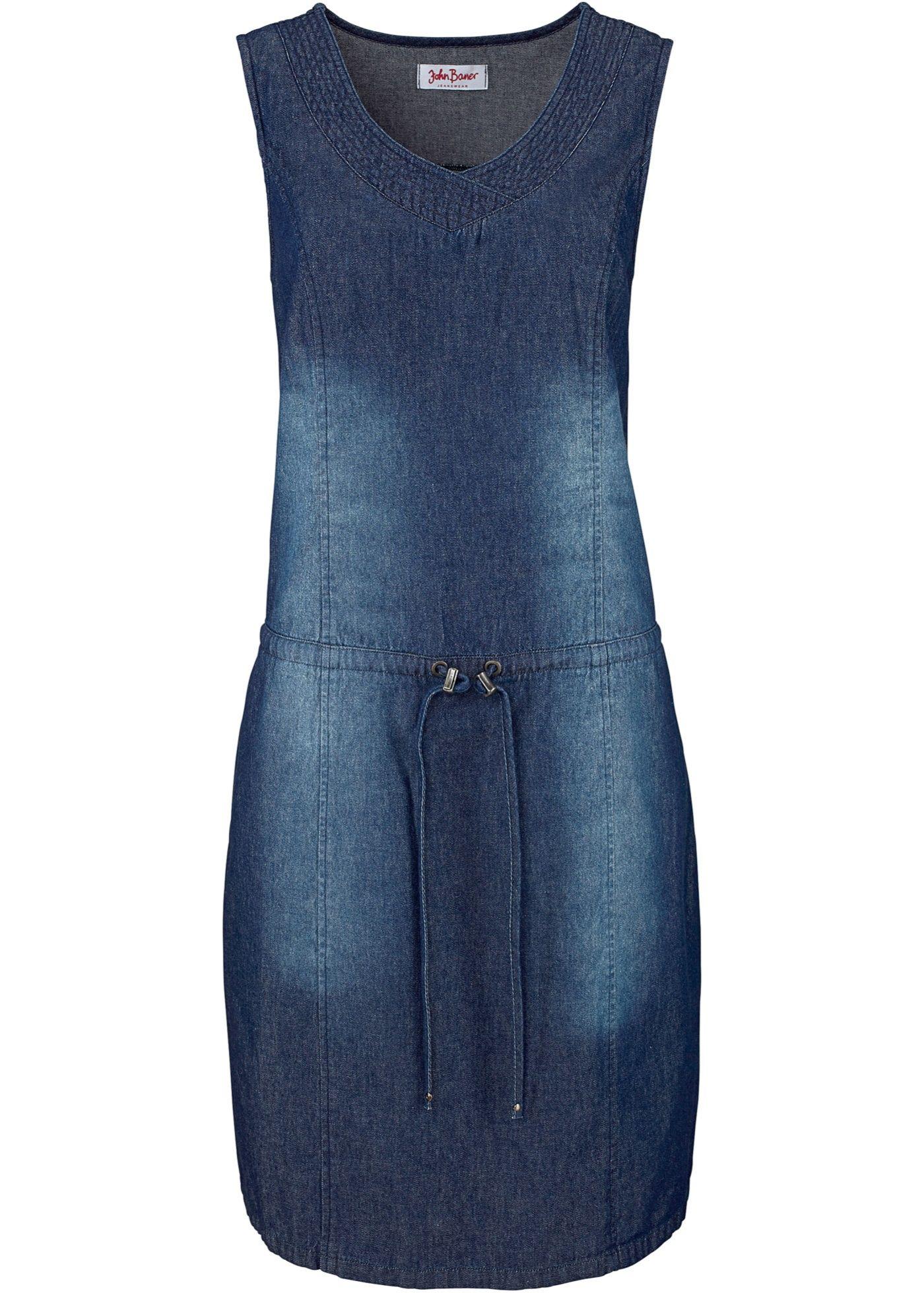 Vestido jeans com cordão de ajuste azul escuro estonado encomendar agora na loja on-line bonprix.de  R$ 149,90 a partir de Este vestido jeans sem mangas tem ...