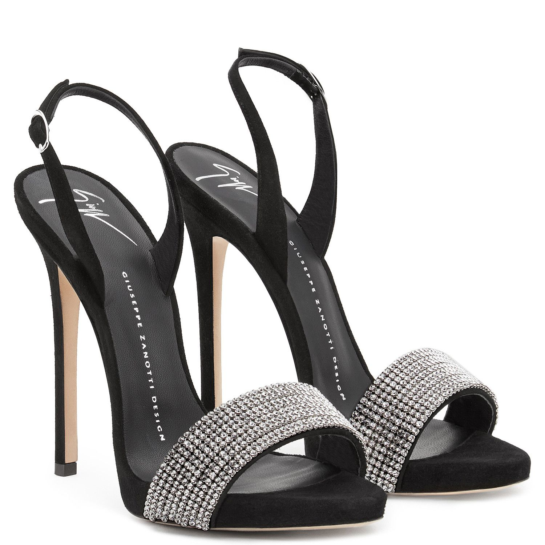 Sophie Crystal Sandals Black Giuseppe Zanotti Black Glitter Shoes Black High Heel Sandals Rhinestone High Heels